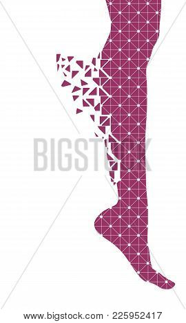 Slim Elegant Woman Leg Silhouette Textured By Lines And Dots Pattern. Legs Design Element. Particles