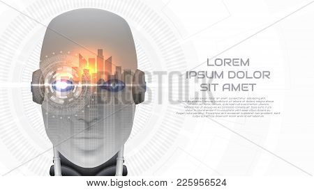 Modern Concept Web Banner With Robot Cybernetic Organism. Vector Illustration With City Landscape. T
