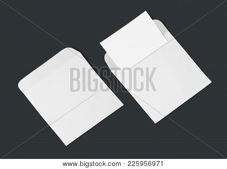 White Envelope And Post Card On A Background, Top View. Blank Envelope Mockup And Blank Letterhead P