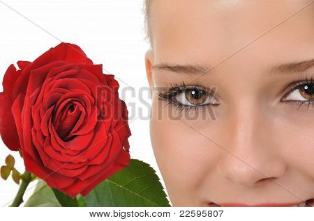 Brown eyes and a red rose
