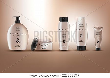 Cosmetics, Illustration Of Cosmetics For Promoting Premium Products, Hair Shampoo, Soap And Hand Cre