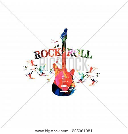 Music Colorful Background With Guitar. Rock Music Festival Poster. Guitar Isolated Vector Illustrati