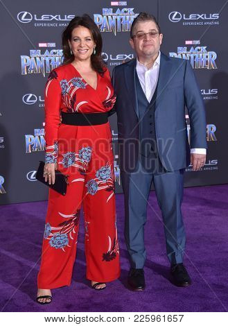LOS ANGELES - JAN 29:  Meredith Salenger and Patton Oswalt arrives for the 'Black Panther' World Premiere on January 29, 2018 in Hollywood, CA