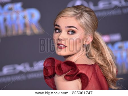 LOS ANGELES - JAN 29:  Meg Donnelly arrives for the 'Black Panther' World Premiere on January 29, 2018 in Hollywood, CA