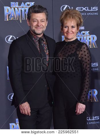 LOS ANGELES - JAN 29:  Andy Serkis and Lorraine Ashbourne arrives for the 'Black Panther' World Premiere on January 29, 2018 in Hollywood, CA