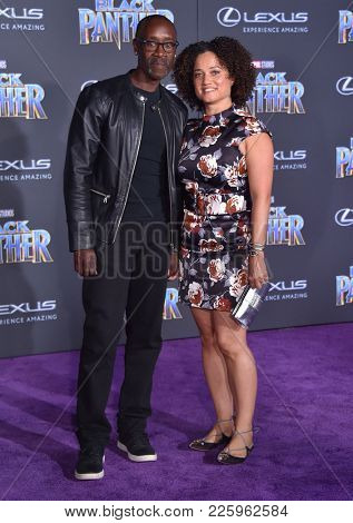 LOS ANGELES - JAN 29:  Don Cheadle and Bridgid Coulter arrives for the 'Black Panther' World Premiere on January 29, 2018 in Hollywood, CA