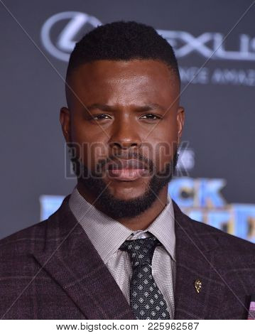 LOS ANGELES - JAN 29:  Winston Duke arrives for the 'Black Panther' World Premiere on January 29, 2018 in Hollywood, CA