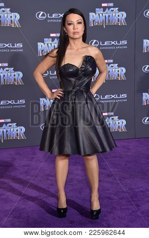 LOS ANGELES - JAN 29:  Ming-Na Wen arrives for the 'Black Panther' World Premiere on January 29, 2018 in Hollywood, CA
