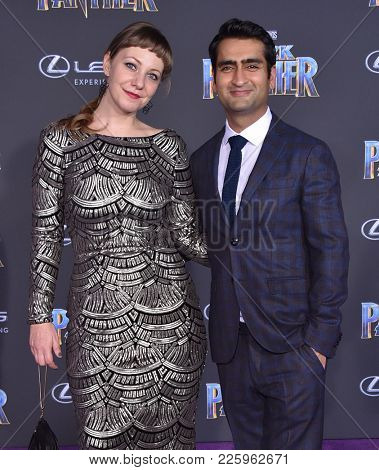 LOS ANGELES - JAN 29:  Kumail Nanjiani and Emily V. Gordon arrives for the 'Black Panther' World Premiere on January 29, 2018 in Hollywood, CA