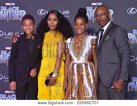 LOS ANGELES - JAN 29:  Angela Bassett, Bronwyn Vance, Slater Vance and Courtney B. Vance arrives for the 'Black Panther' World Premiere on January 29, 2018 in Hollywood, CA