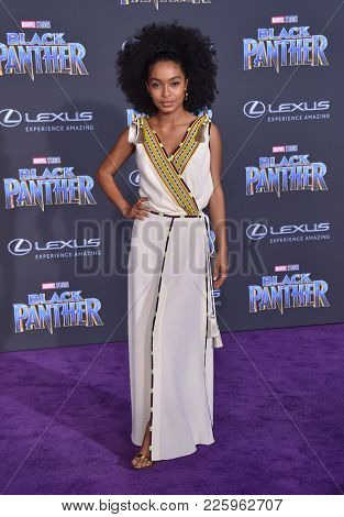 LOS ANGELES - JAN 29:  Yara Shahidi arrives for the 'Black Panther' World Premiere on January 29, 2018 in Hollywood, CA