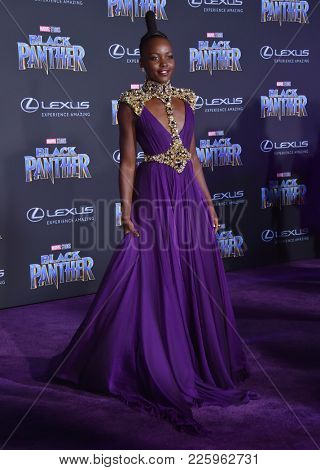 LOS ANGELES - JAN 29:  Lupita Nyong'o arrives for the 'Black Panther' World Premiere on January 29, 2018 in Hollywood, CA