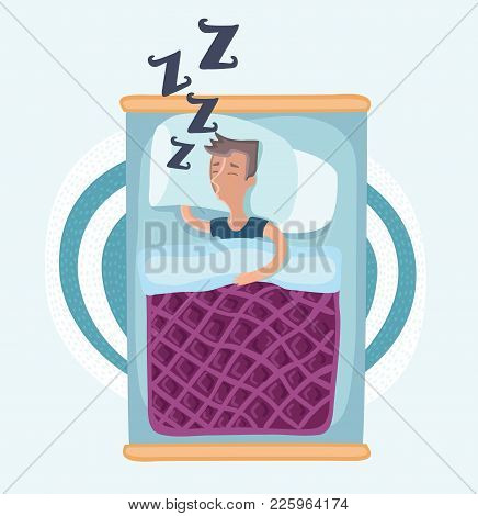 Vector Cartoon Funny Illustation Of Man Lying And Sleeping In Bed Under Blanket, And Snoring And Snu