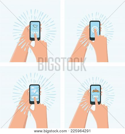 Vector Cartoon Set Of Illustration. One Hand Holds A Smartphone Shop, The Other Hand Holding A Smart