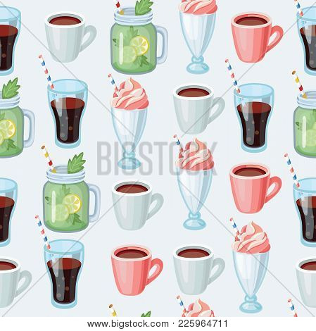 Vector Cartoon Seamless Background: Non-alcoholic Beverages Herbal Tea, Smoothie, Milk Shake, Lemona
