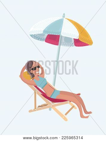 Vector Illustration Girl Relaxing On The Sea Beach Deck-chair Under Umbrella.