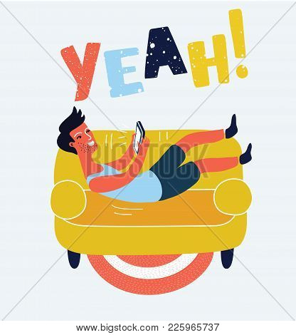 Cartoon Funny Illustration Of Happy Man With Tablet Lies Down On Falls On The Sofa. Lying, Chat, Dat