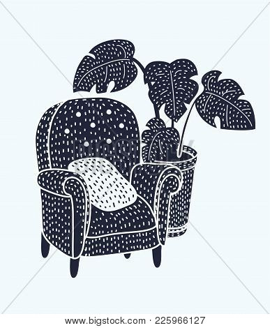 Vector Illustration Of Cute Armchair With Wooden Legs And Monstera Plant In Pot In Black And White C