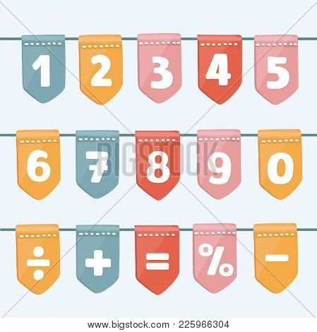 Set Of Cartoon Flag Garlands With Numbers Division, Exclamation Point, Multiplication, Percent, Equa