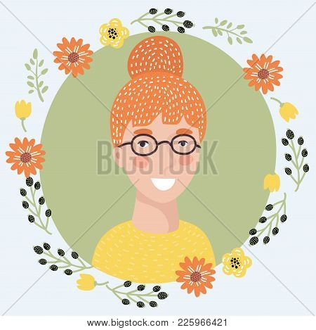 Vector Illustration Of Cartoon Young Woman Face Icon. Pretty Intelligent Redhead Girl On Glasses. Fe