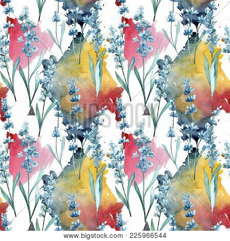 Wildflower Lavender Flower Pattern In A Watercolor Style. Full Name Of The Plant: Lavender. Aquarell