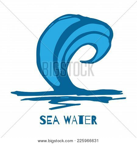 Vector Of Hand Blue Water Waves, Splatters, Curves Icon Isolated On White Background. Summer Tide Ba