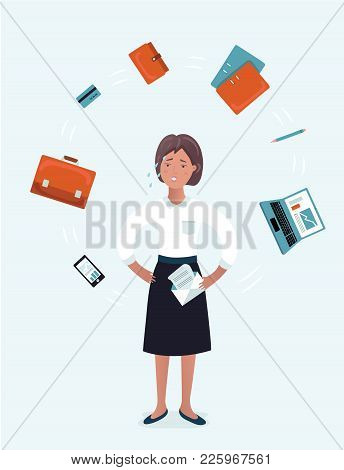 Vector Cartoon Illustration Of Stressed Businesswoman With Laptop At Multi Tasking Office Work. Woma