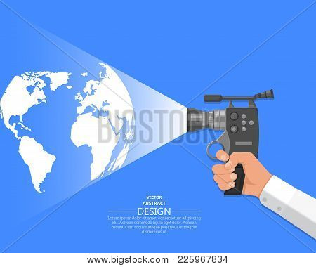 The Hand Of The Video Operator Holds The Video Camera. Concept Of Display Of World Events. Latest Gl