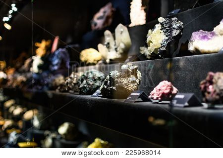 Collection Of Minerals Exposed In The Natural Museum Of Florence