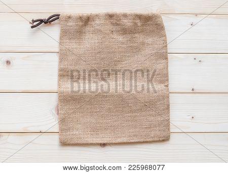 Jute Hessian Canvas Tote Bag With Drawstring, Mockup Of Small Eco Sack Made From Natural Hemp Burlap