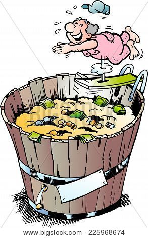 Cartoon Vector Illustration Of A Rich Pensioner Who Took A Bath In His Money Bin