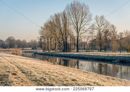 Winter View Of The Dutch Nature Reserve Markdal Near The City Of Breda. Diagonally In The Image Is T