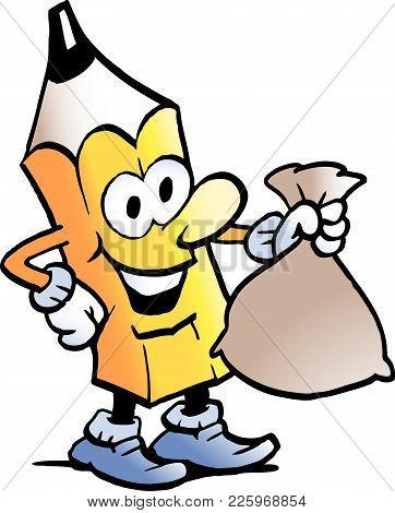 Cartoon Vector Illustration Of A Pencil Standing And Holding A Money Bag