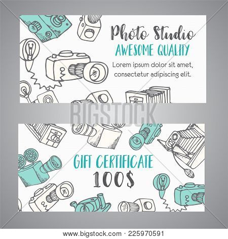 Gift Certificate For Photo Studio Or Photographer. Hand Drawn Doodle Cartoon Retro Photo Cameras, Ve