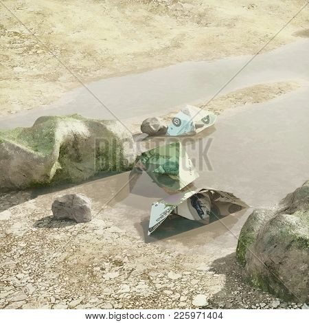 Paper Boats  Made From American Dollars, Drowned In The Water. Concept Illustration Of The Finance C