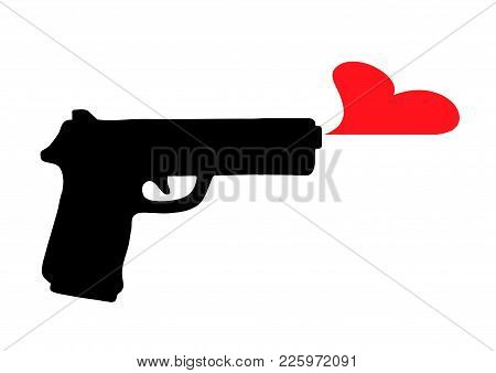 Black Silhouette Of A Black Gun, Which Produces A Red Heart, And Does Not Shoot Bullets. Romantic Sy