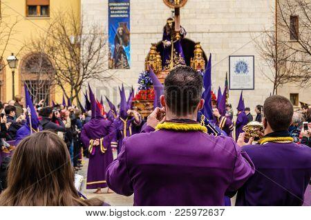 Palencia, Spain - March 25, 2016: Traditional Spanish Holy Week (semana Santa) Procession On Holy Fr