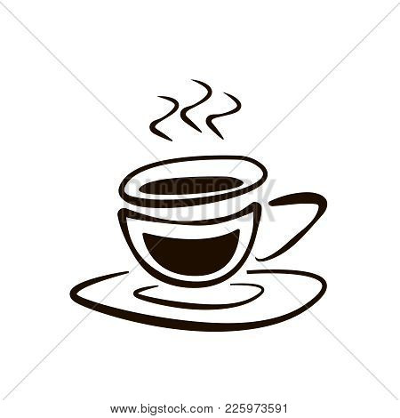Cup Of Coffee With Saucer Doodle Drawing Vector Icon