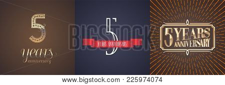 5 Years Anniversary Vector Icon, Logo Set. Graphic Design Element With Red Ribbon And Golden Number