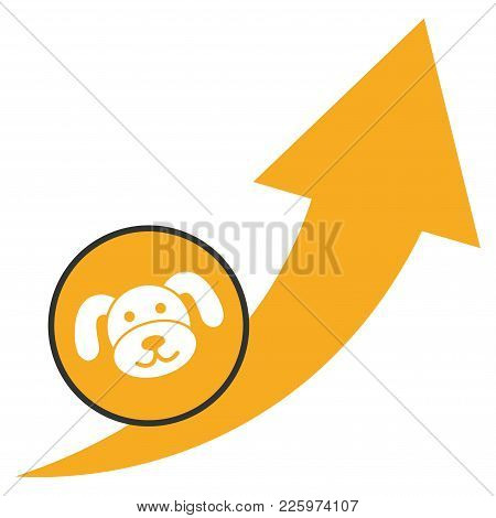 Puppycoin Grow Up Arrow Flat Vector Pictogram. An Isolated Illustration On A White Background.