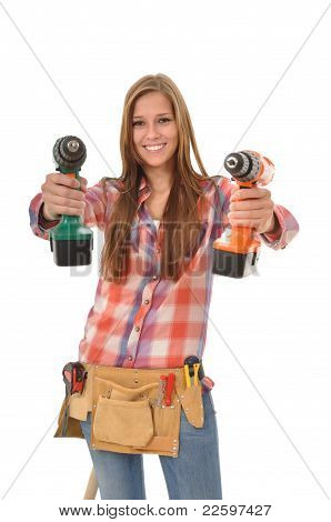 Young craftswoman with two driller