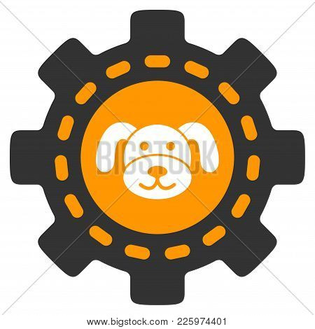 Puppycoin Options Gear Flat Vector Illustration. An Isolated Illustration On A White Background.