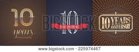 10 Years Anniversary Vector Icon, Logo Set. Graphic Design Element With Red Ribbon And Golden Number