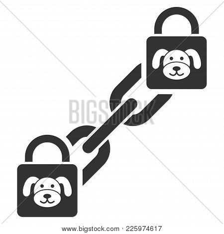Puppy Blockchain Flat Vector Icon. An Isolated Illustration On A White Background.