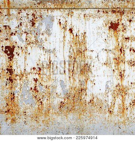 Part Of Rusty Metal Plate Scratched Texture Background