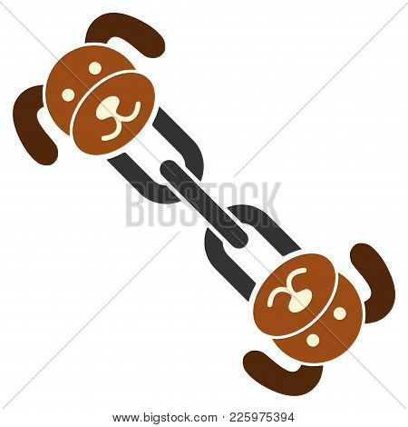 Puppy Chain Flat Vector Pictograph. An Isolated Illustration On A White Background.