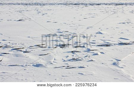 Frozen River Ice-covered Surface Background. Winter Nature Frosty Landscape, Ice On River Minimalist