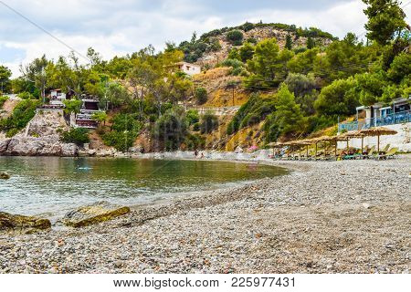 The Small Pebble Beach Near Town Of Asini, Peloponnese, Greece.