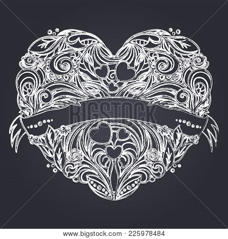 Decorative Heart With Floral Pattern And Ribbon. Chalk On Blackboard Drawing Imitation. Hand Drawn V