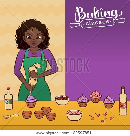 Young African Woman Decorating A Cupcake. Flyer For Baking Classes. Hand Drawn Vector Graphics Illus